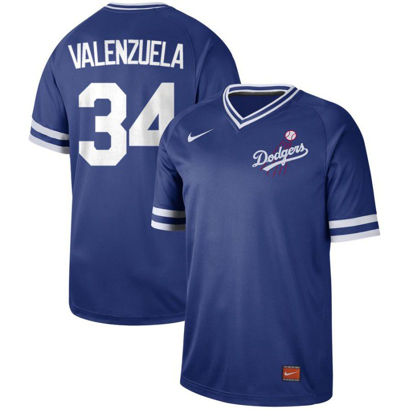 Men Los Angeles Dodgers 34 Valenzuela Blue Nike Cooperstown Collection Legend V-Neck MLB Jersey