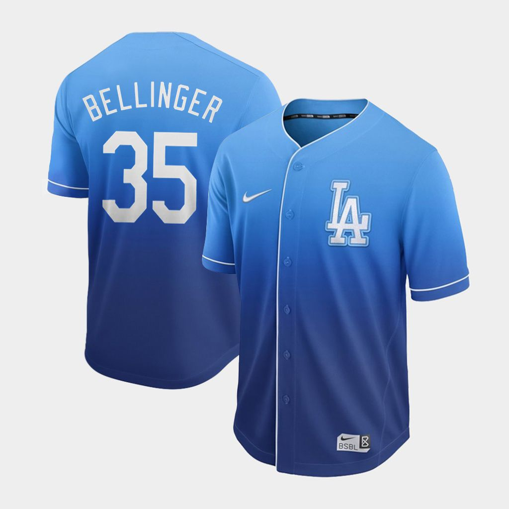 Men Los Angeles Dodgers 35 Bellinger Blue Nike Fade MLB Jersey
