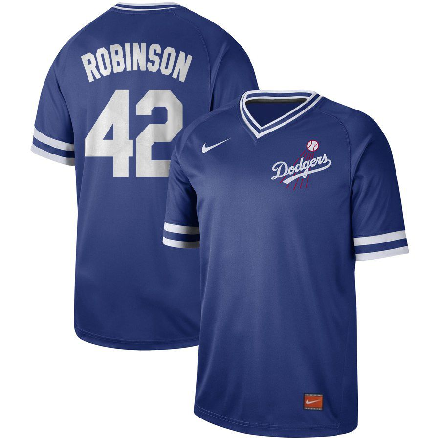 Men Los Angeles Dodgers 42 Robinson Blue Nike Cooperstown Collection Legend V-Neck MLB Jersey