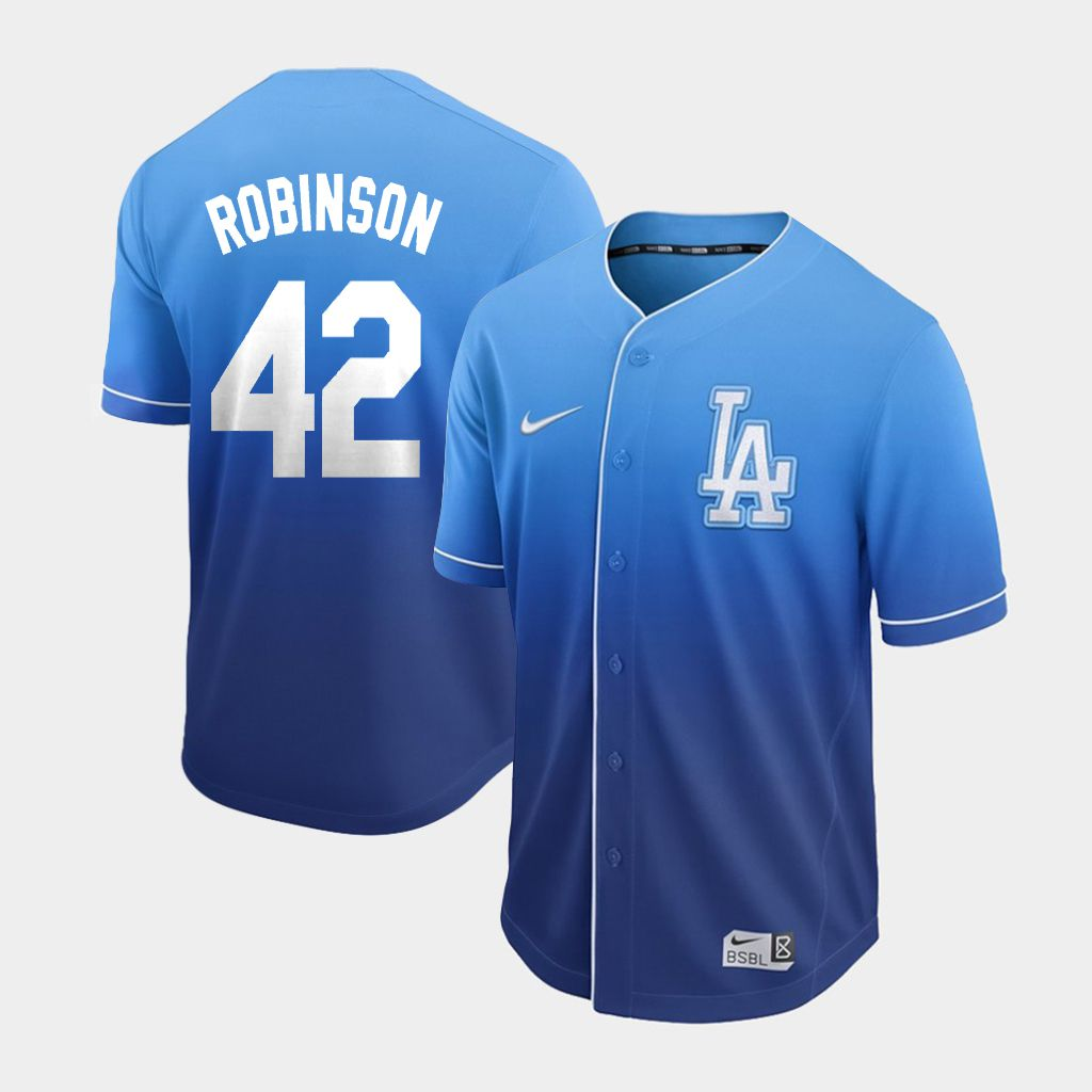 Men Los Angeles Dodgers 42 Robinson Blue Nike Fade MLB Jersey