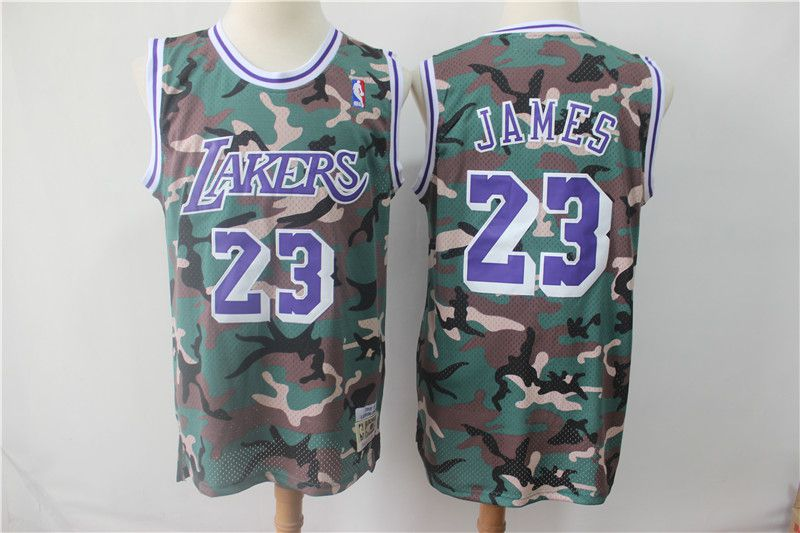 Men Los Angeles Lakers 23 James Jungle Camo NBA Jersyes