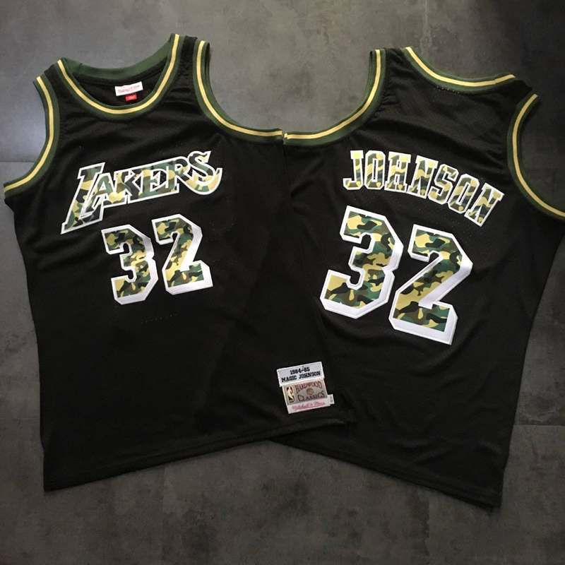 Men Los Angeles Lakers 32 Johnson Camo Embroidery NBA Jerseys