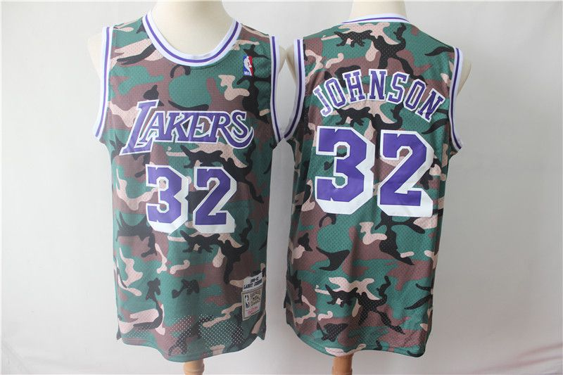 Men Los Angeles Lakers 32 Johnson Jungle Camo NBA Jersyes