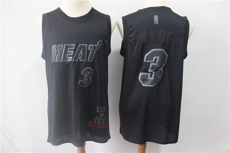 Men Miami Heat 3 Wade Black MVP Honorary Edition NBA Jerseys
