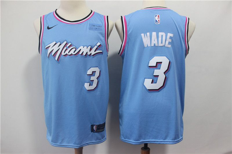 Men Miami Heat 3 Wade Blue City Edition Game Nike NBA Jerseys