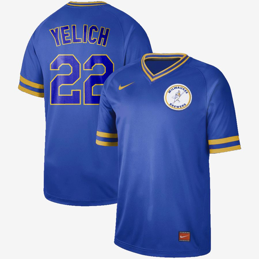 Men Milwaukee Brewers 22 Yelich Blue Nike Cooperstown Collection Legend V-Neck MLB Jersey