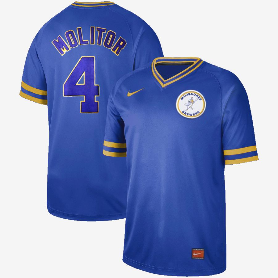 Men Milwaukee Brewers 4 Molitor Blue Nike Cooperstown Collection Legend V-Neck MLB Jersey
