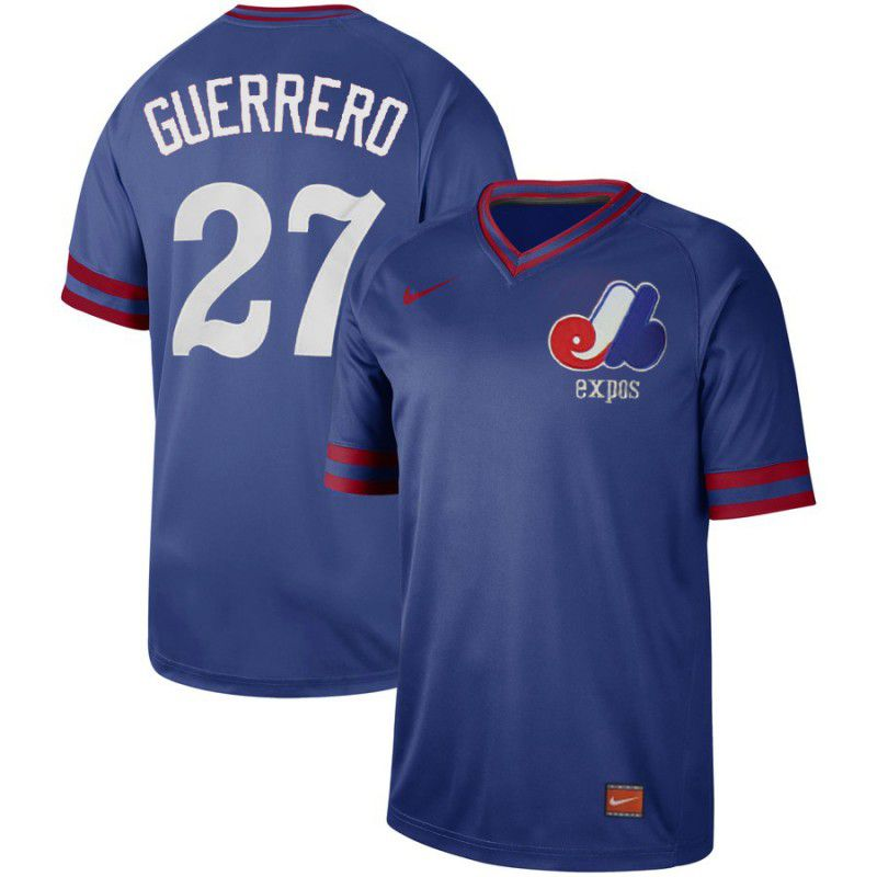 Men Montreal Expos 27 Guerrero Blue Nike Cooperstown Collection Legend V-Neck MLB Jersey