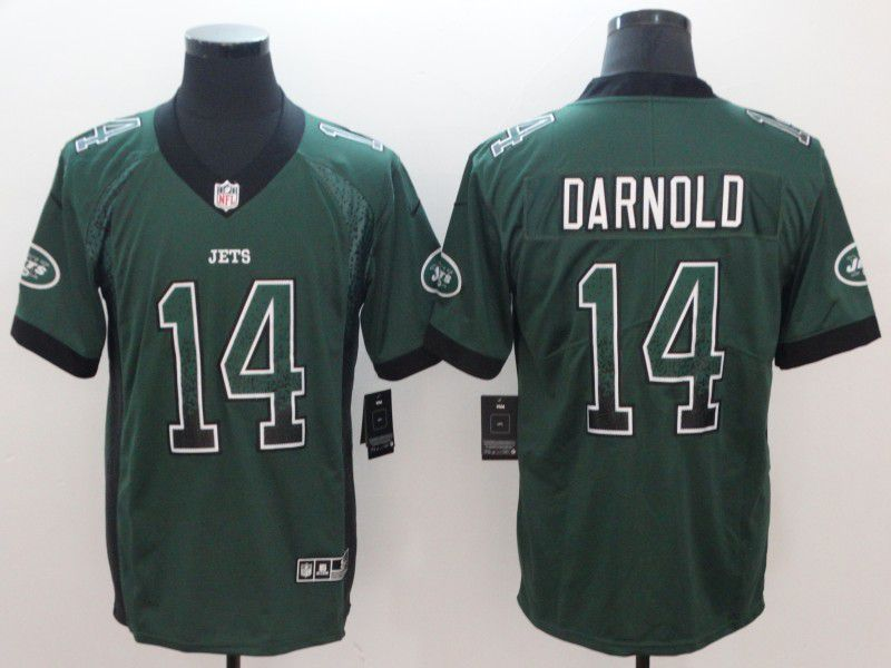 Men New York Jets 14 Darnold Green Nike Drift Fashion Color Rush Limited NFL Jerseys