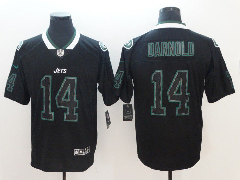 Men New York Jets 14 Darnold Nike Lights Out Black Color Rush Limited NFL Jerseys