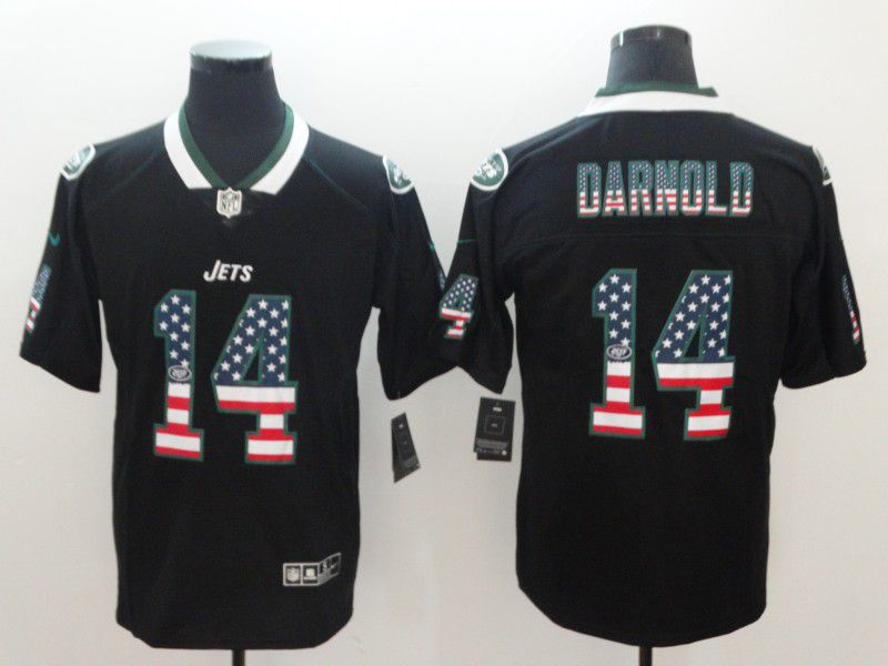 Men New York Jets 14 Darnold Nike USA Flag Fashion Black Color Rush Limited NFL Jerseys