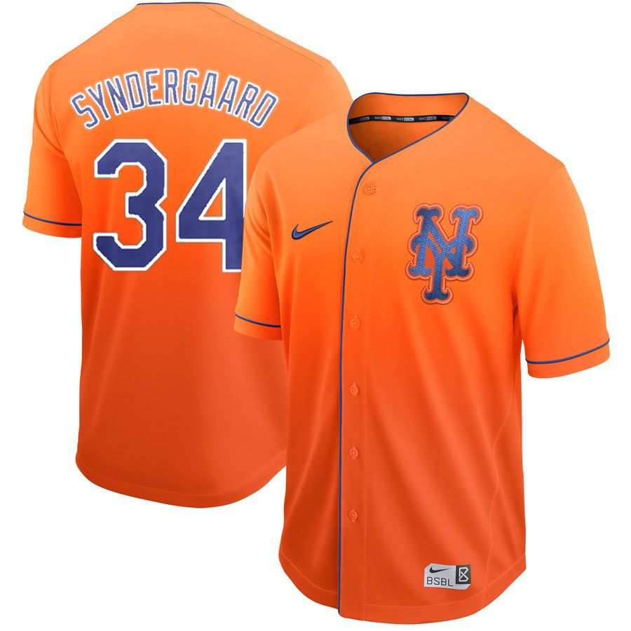 Men New York Mets 34 Syndergaaro Orange Nike Fade MLB Jersey