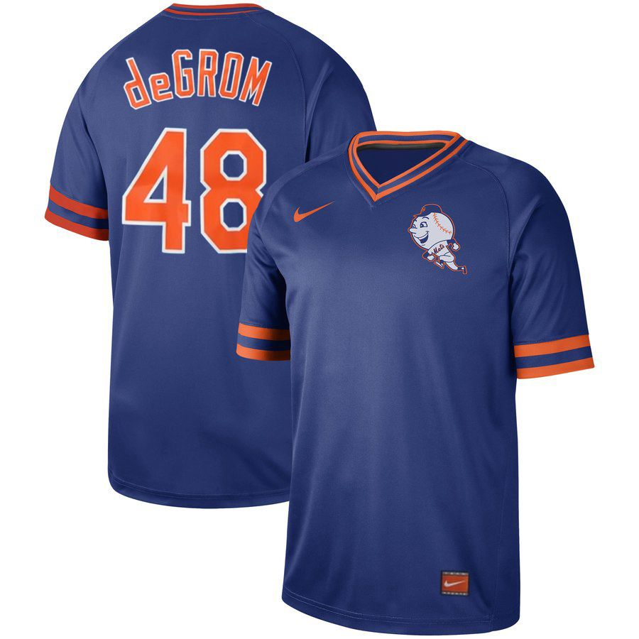 Men New York Mets 48 deGrom Blue Nike Cooperstown Collection Legend V-Neck MLB Jersey