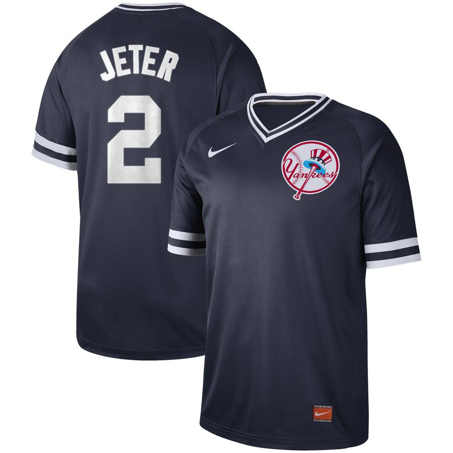 Men New York Yankees 2 Jeter Blue Nike Cooperstown Collection Legend V-Neck MLB Jersey