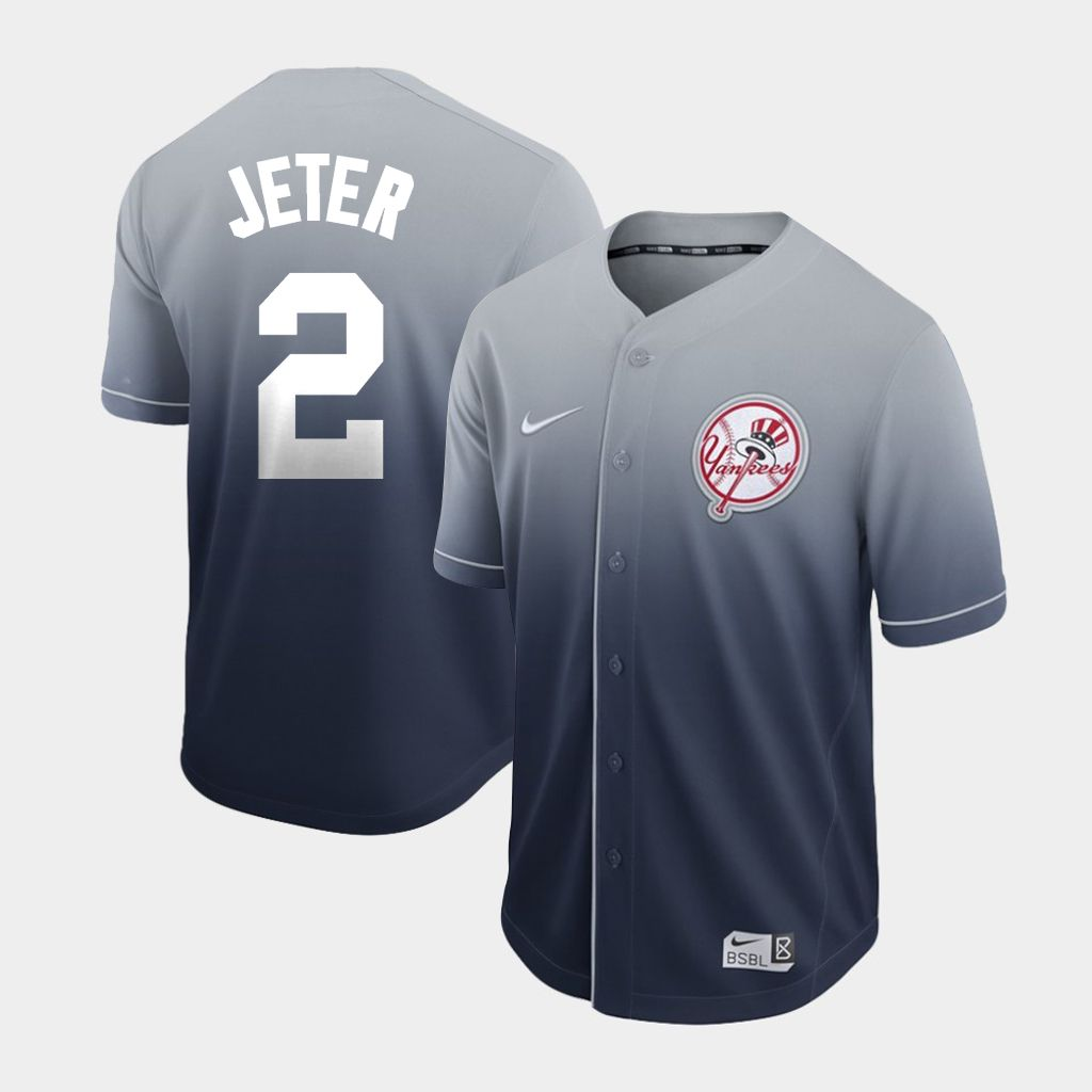Men New York Yankees 2 Jeter Grey Nike Fade MLB Jersey