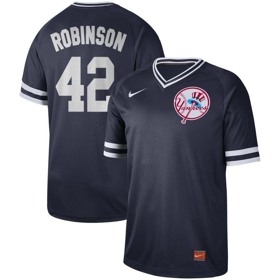 Men New York Yankees 42 Robinson Blue Nike Cooperstown Collection Legend V-Neck MLB Jersey