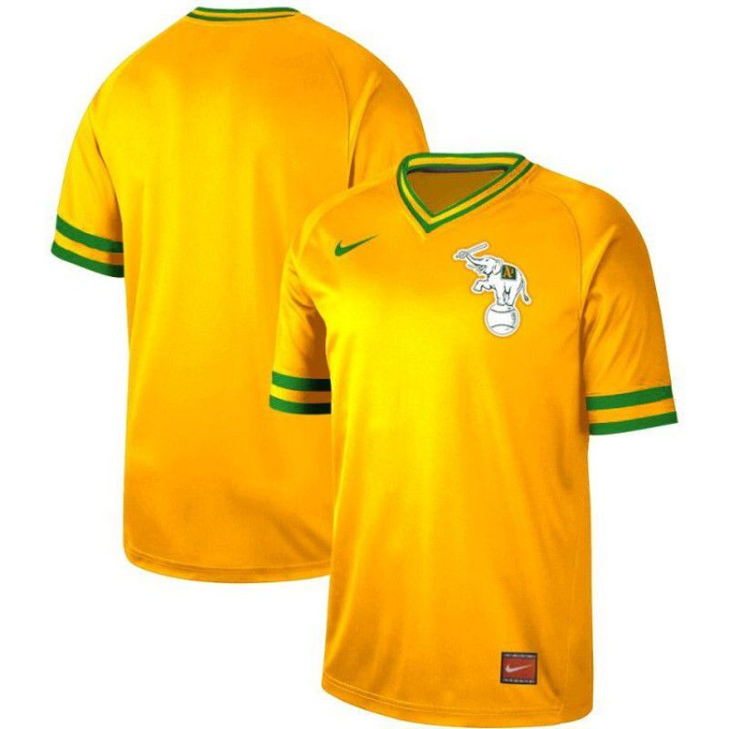 bb7256acf47 Men Oakland Athletics Blank Yellow Nike Cooperstown Collection Legend V-Neck  MLB Jersey