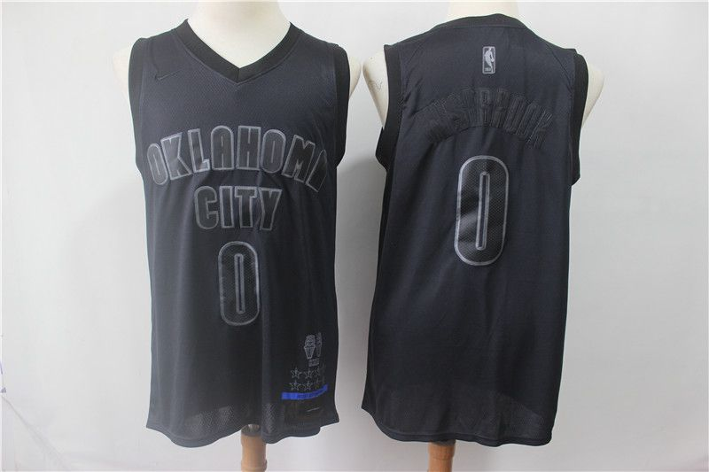 Men Oklahoma City Thunder 0 Westbrook Black MVP Honorary Edition NBA Jerseys