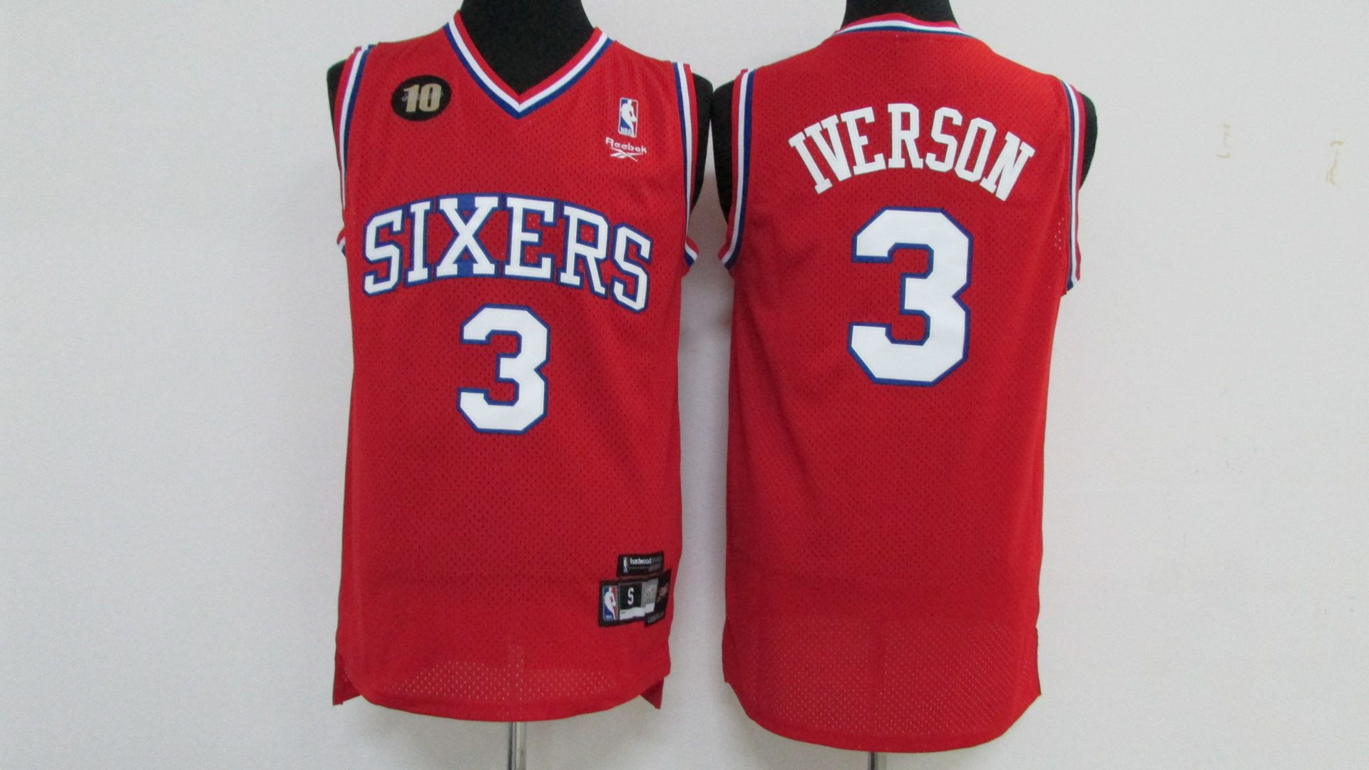 Men Philadelphia 76ers 3 Iverson Red Throwback Elite Nike NBA Jerseys