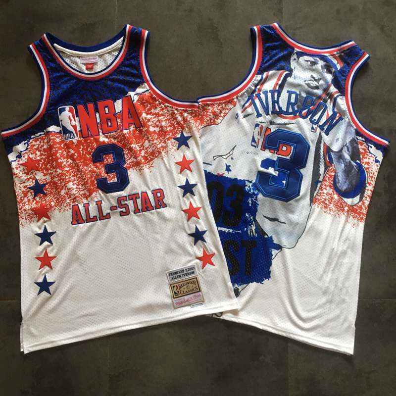 Men Philadelphia 76ers 3 Iverson White All Star Memorial Statue NBA Jerseys