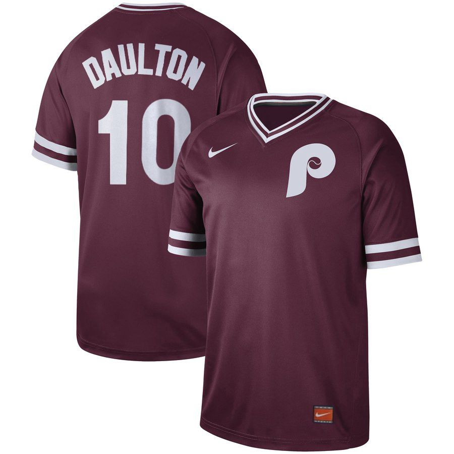 Men Philadelphia Phillies 10 Daulton Red Nike Cooperstown Collection Legend V-Neck MLB Jersey