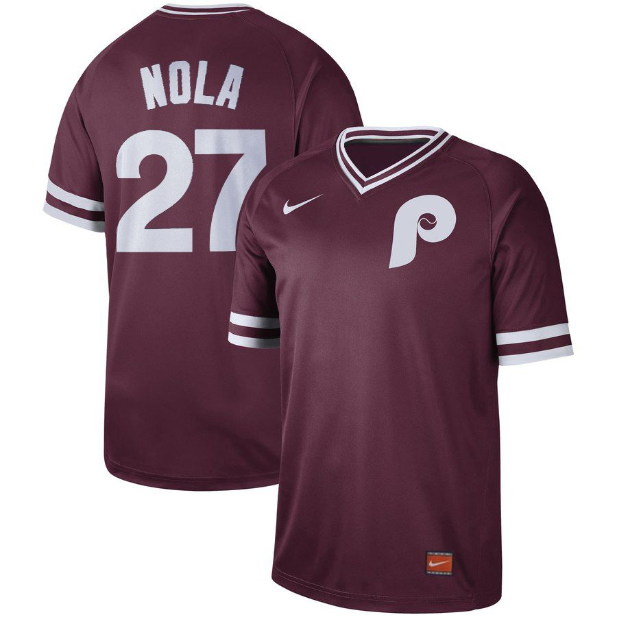Men Philadelphia Phillies 27 Nola Red Nike Cooperstown Collection Legend V-Neck MLB Jersey