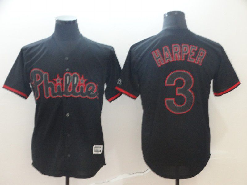 Men Philadelphia Phillies 3 Harper Black Game MLB Jerseys