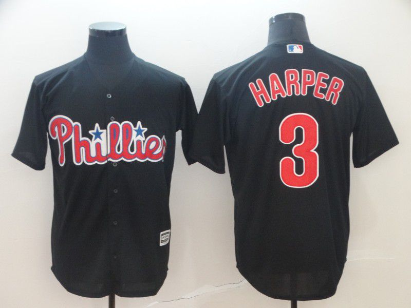 Men Philadelphia Phillies 3 Harper Black Game MLB Jerseys1