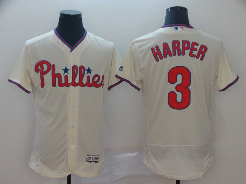 Men Philadelphia Phillies 3 Harper Cream Elite MLB Jerseys