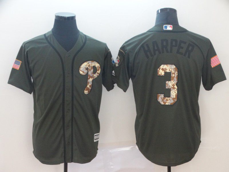 Men Philadelphia Phillies 3 Harper Green Game MLB Jerseys