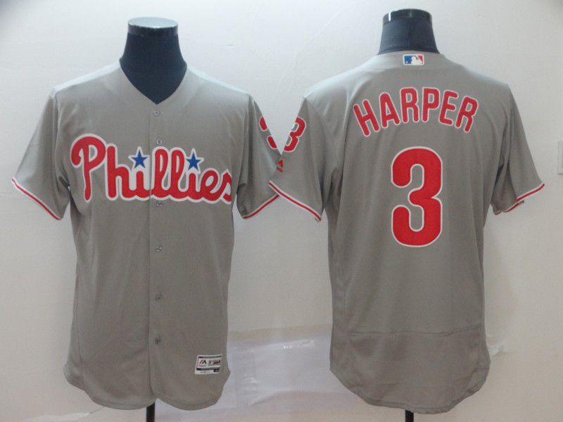 Men Philadelphia Phillies 3 Harper Grey Elite MLB Jerseys