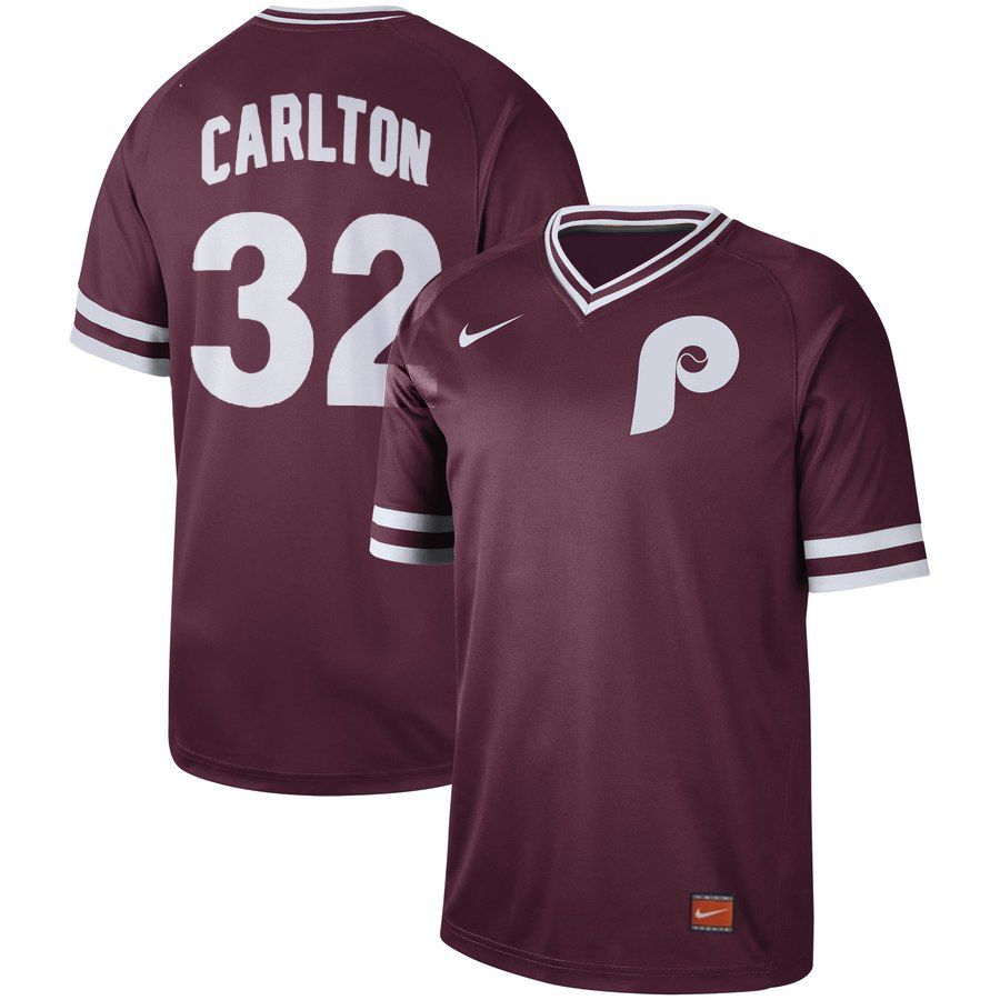 Men Philadelphia Phillies 32 Carlton Red Nike Cooperstown Collection Legend V-Neck MLB Jersey