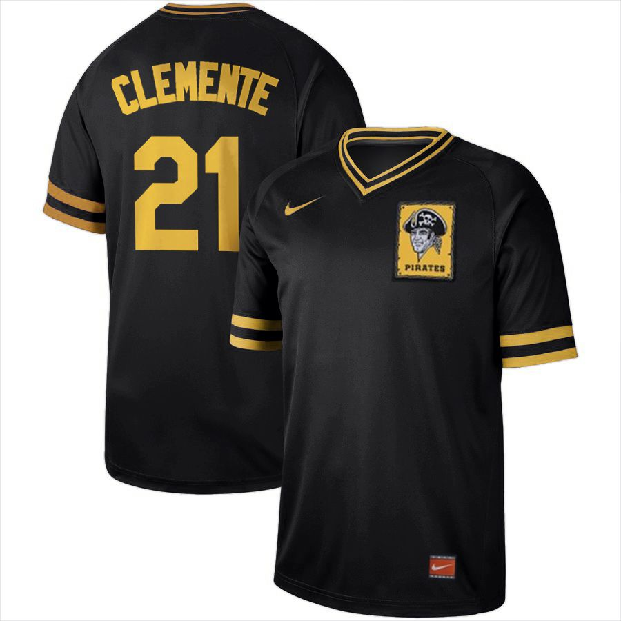 Men Pittsburgh Pirates 21 Clemente Black Nike Cooperstown Collection Legend V-Neck MLB Jersey