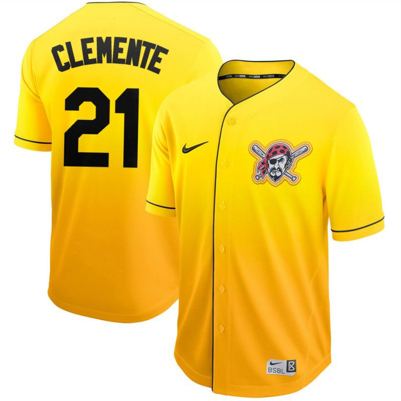 Men Pittsburgh Pirates 21 Clemente Yellow Nike Fade MLB Jersey