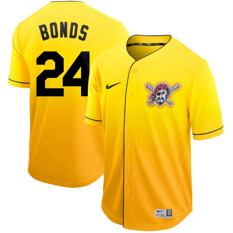 Men Pittsburgh Pirates 24 Bonds Yellow Nike Fade MLB Jersey