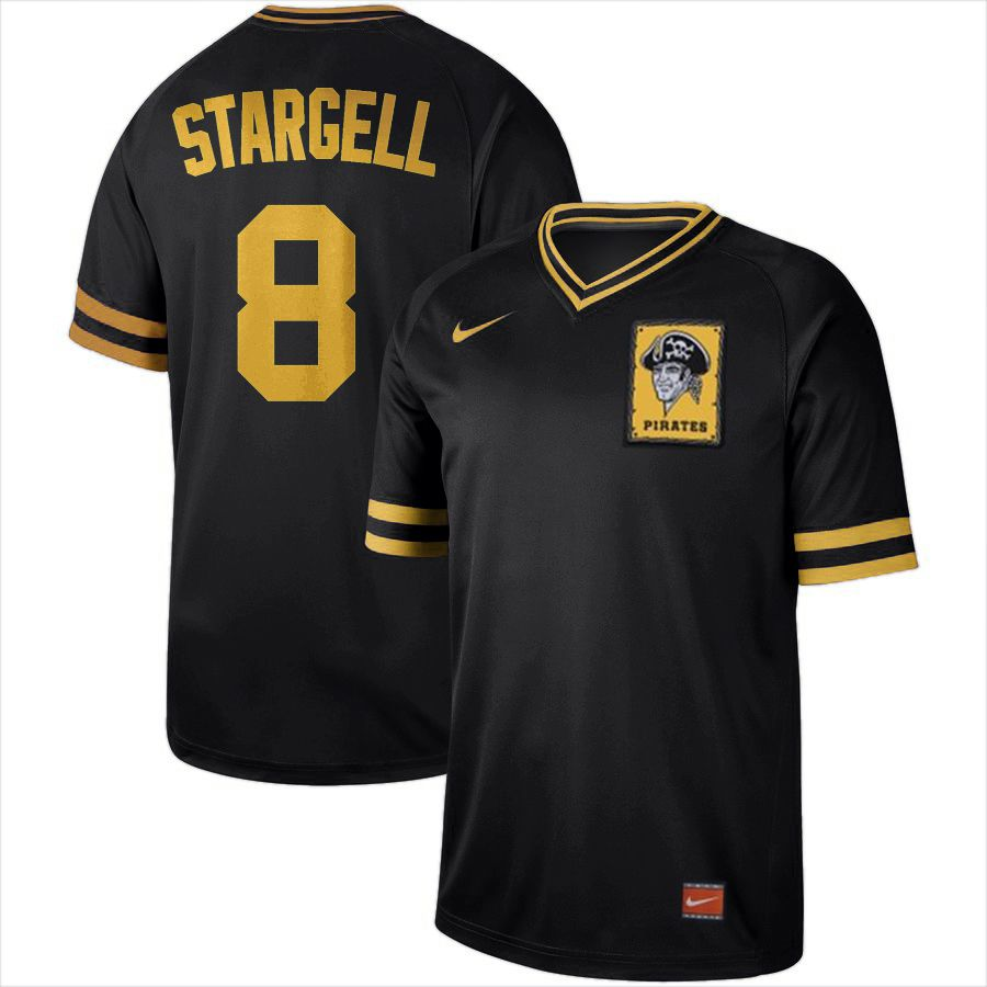 Men Pittsburgh Pirates 8 Stargell Black Nike Cooperstown Collection Legend V-Neck MLB Jersey