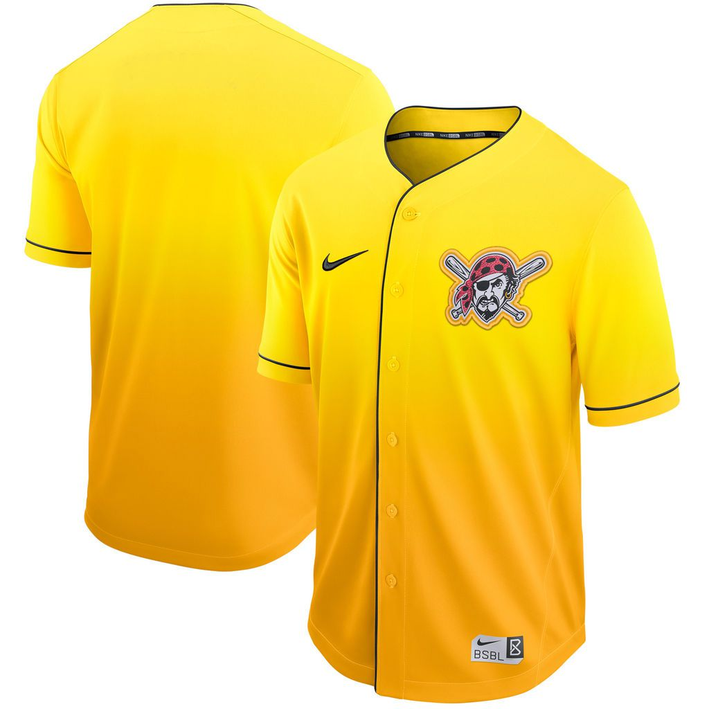 Men Pittsburgh Pirates Blank Yellow Nike Fade MLB Jersey