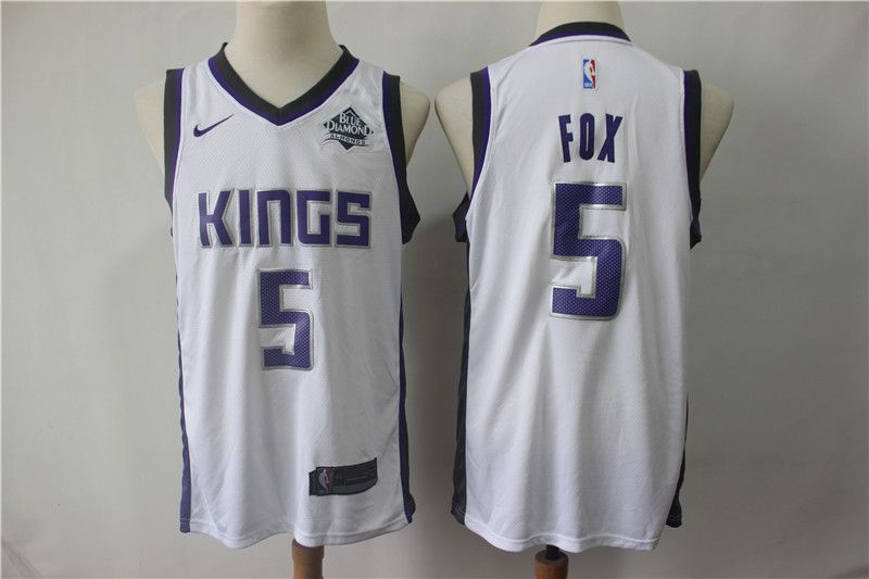 Men Sacramento Kings 5 Fox White City Edition Game Nike NBA Jerseys