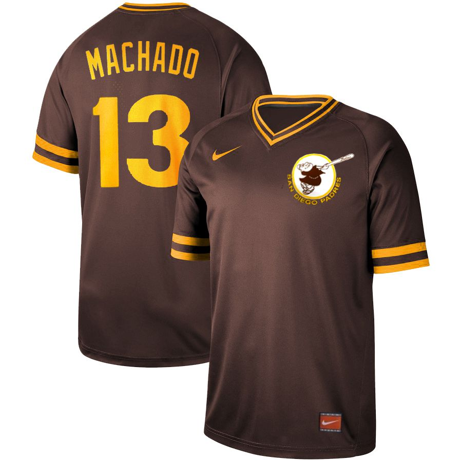 Men San Diego Padres 13 Machado brown Nike Cooperstown Collection Legend V-Neck MLB Jersey