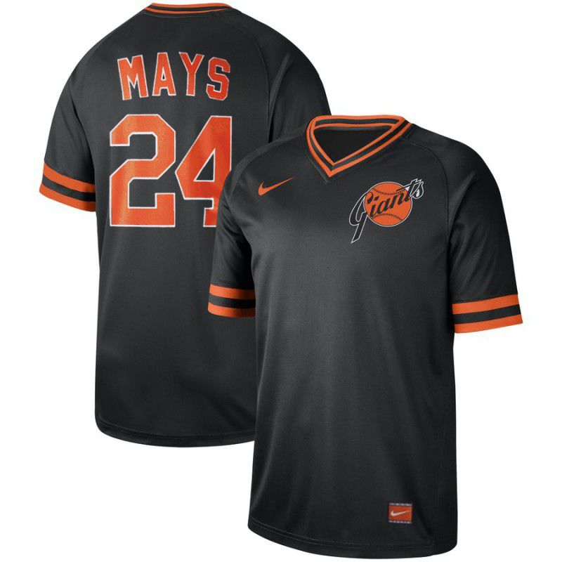 Men San Francisco Giants 24 Mays Black Nike Cooperstown Collection Legend V-Neck MLB Jersey