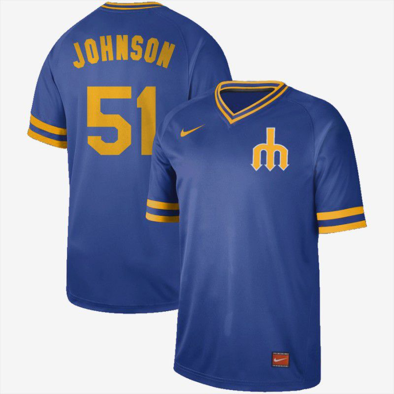 Men Seattle Mariners 51 Johnson Blue Nike Cooperstown Collection Legend V-Neck MLB Jersey