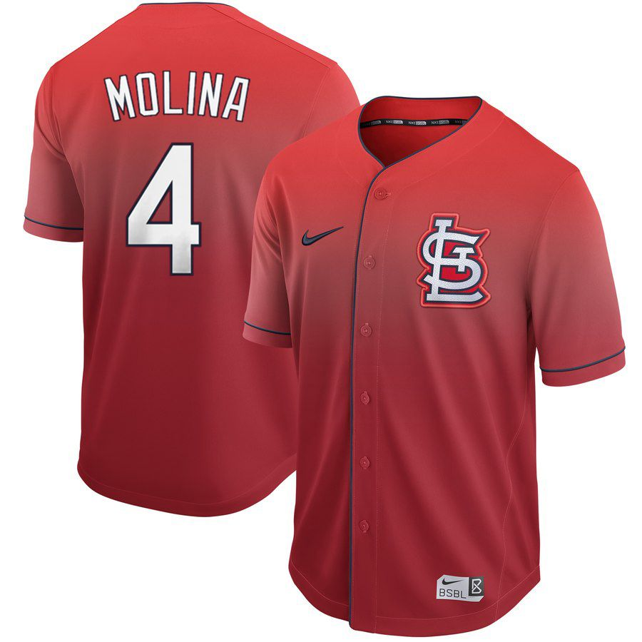 Men St. Louis Cardinals 4 Molina Red Nike Fade MLB Jersey