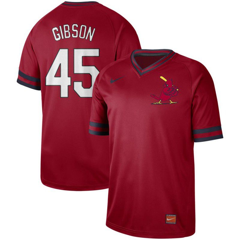 Men St. Louis Cardinals 45 Gibson Red Nike Cooperstown Collection Legend V-Neck MLB Jersey