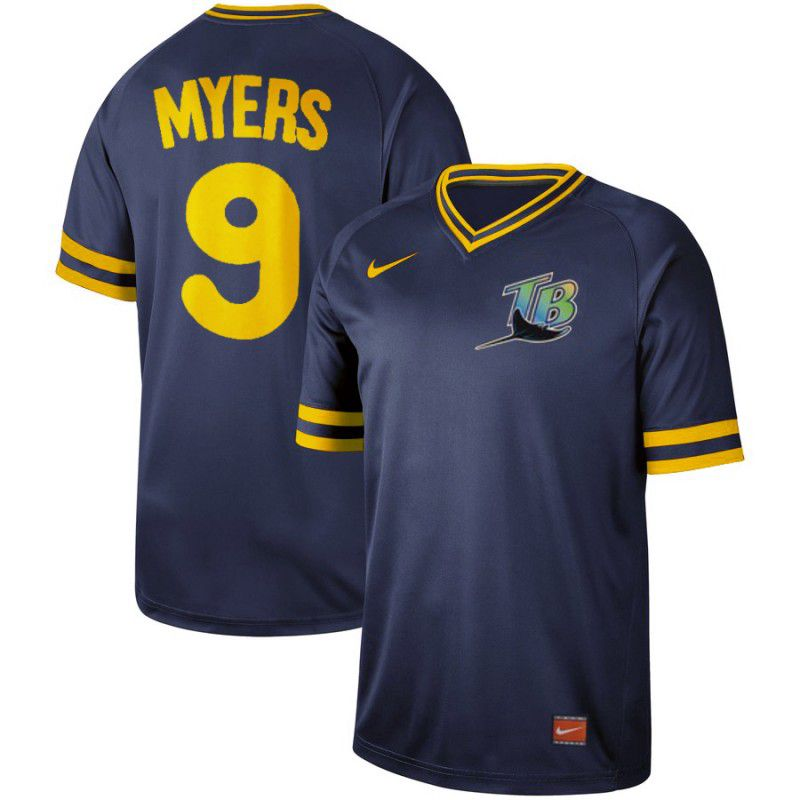 Men Tampa Bay Rays 9 Myers Blue Nike Cooperstown Collection Legend V-Neck MLB Jersey