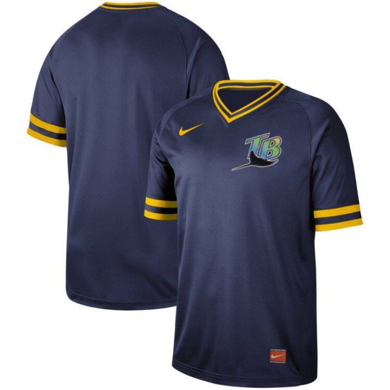Men Tampa Bay Rays Blank Blue Nike Cooperstown Collection Legend V-Neck MLB Jersey