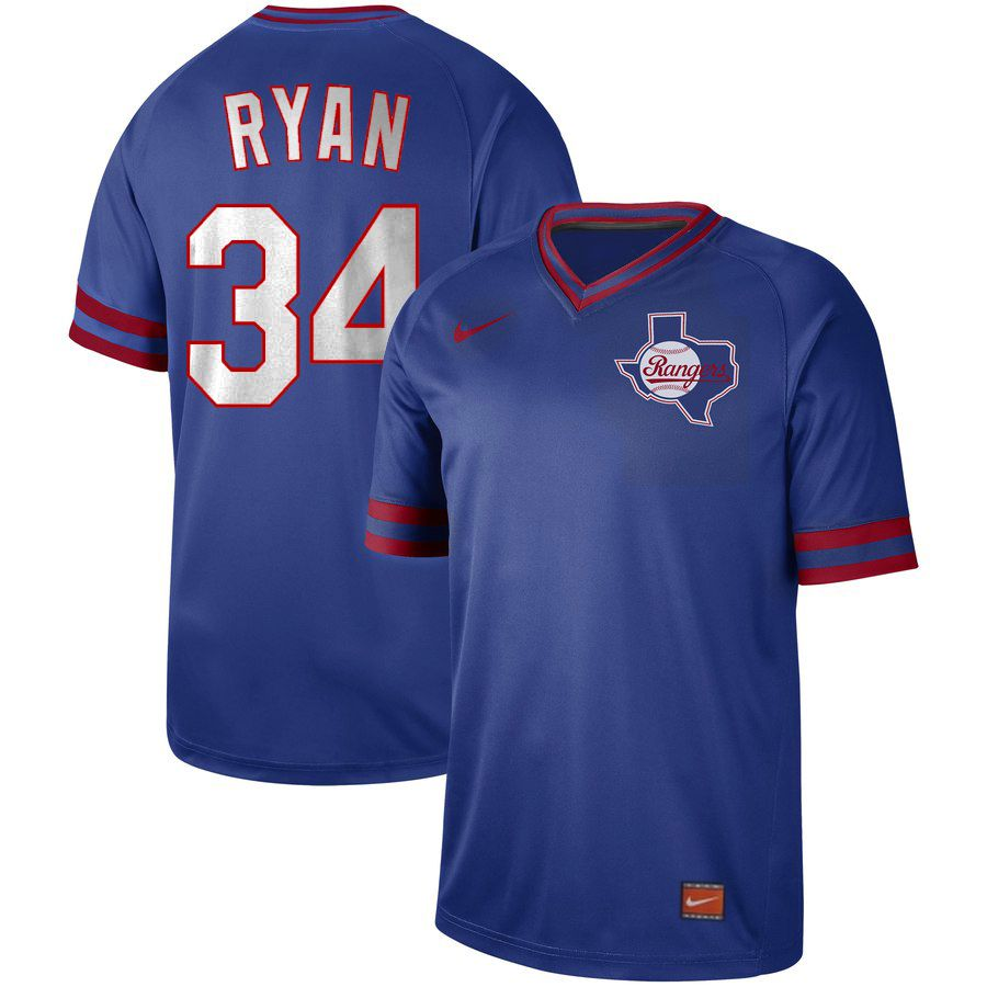 Men Texas Rangers 34 Ryan Blue Nike Cooperstown Collection Legend V-Neck MLB Jersey