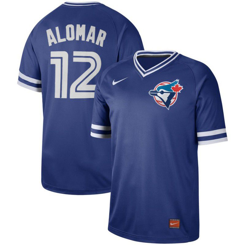 Men Toronto Blue Jays 12 Alomar Blue Nike Cooperstown Collection Legend V-Neck MLB Jersey