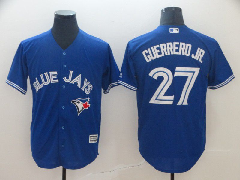 Men Toronto Blue Jays 27 Guerrero jr Blue Game MLB Jersey