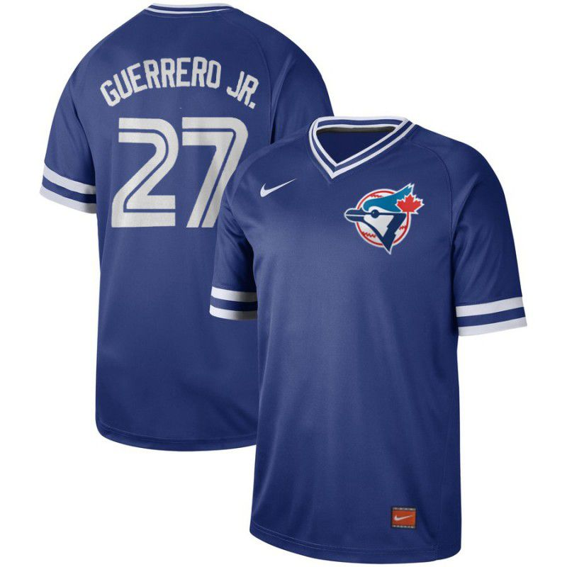 Men Toronto Blue Jays 27 Guerrero jr Blue Nike Cooperstown Collection Legend V-Neck MLB Jersey