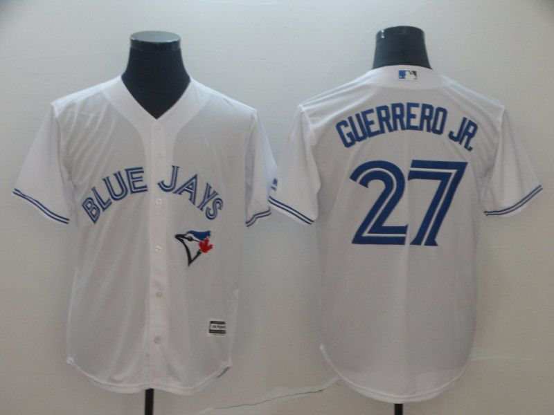 Men Toronto Blue Jays 27 Guerrero jr White Game MLB Jersey